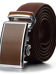 Men's Fashion Genuine Leather Ratchet Belt Business Brown Belts