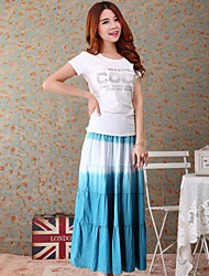 Women's Color Block Blue / Pink / Green Skirts,Beach Maxi