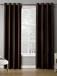 One Panel Modern Solid Black / Red / Coffee Bedroom Polyester Blackout Curtains Drapes 52 inch Per Panel