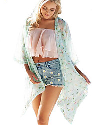 Women's Beach Sexy / Boho Summer Shirt,Floral Cowl ¾ Sleeve Green Polyester Translucent