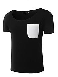 Kleurenblok-Informeel / Sport-Heren-Katoen-T-shirt-Korte mouw Zwart / Beige