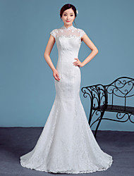 Trumpet / Mermaid Wedding Dress Court Train High Neck Lace / Tulle with Lace