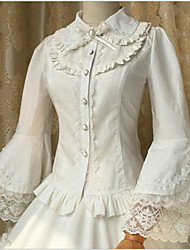 Sweet Lolita Blouse/Shirt Long Sleeve Medium Length White Lolita Dress Cotton