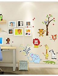 Cartoon Jungle Wild Animal Wall Stickers For Kids Rooms Home Decor Lion Giraffe Elephant Birds Living Room Decals
