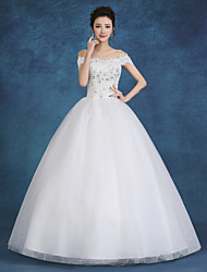 Ball Gown Wedding Dress-White Floor-length Bateau Lace / Satin / Tulle