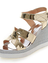 Women's Shoes Patent Leather/Wedges Heels /Sling back/Open Toe Sandals Dress Pink/Silver/Gold