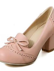 Women's Shoes Leatherette Chunky Heel Heels Heels Wedding / Office & Career / Party & Evening Blue / Pink / Beige