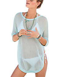 Women's Sexy Round Collar Thin Translucente Cover-Ups