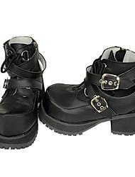 Punk Cuero Patentado / Cuero 8 Tacón Cuña Negro Zapatos de Lolita