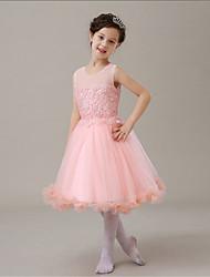 2016 New Style Korean version Sweet Candy Pink Chiffon Hollow A-line Knee-length Flower Girl Dress