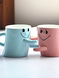 2PCS Valentine'S Gift Men And Women Friends Birthday Gift Lovers Smiling Face Hug For A Cup Of Couple Of Cups