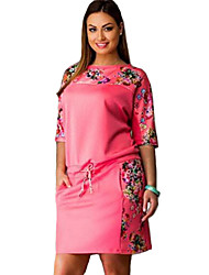 Women's Street chic Plus Size Dress,Floral Round Neck Above Knee ½ Length Sleeve Blue / Pink / Yellow Cotton Summer