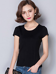 Slim New Summer Women's Black T-Shirt, Short-Sleeved Round Neck Solid Color (Cotton)