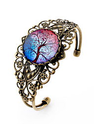 Lureme® Vintage Jewelry Time Gem Series Colorful Tree of Life Antique Bronze Hollow Flower Open Bangle Bracelet Women