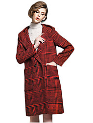 Women's Plaid Red / Gray Coat,Simple Long Sleeve Wool / Polyester