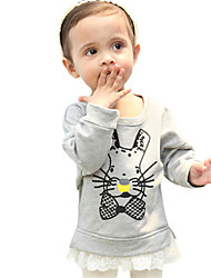 Girl's Gray Hoodie & Sweatshirt,Cartoon Cotton Winter