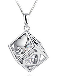 925 Fine Silver AAA Zircon Heart Love Pendant NecklaceImitation Diamond Birthstone