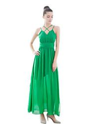 De las mujeres Corte Ancho Vestido Simple Un Color Maxi Con Tirantes Poliéster