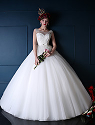 Princess Wedding Dress Floor-length Scoop Tulle with Beading