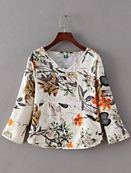 Women's Casual/Daily Vintage Summer Blouse,Print V Neck ¾ Sleeve Beige Cotton / Linen Thin