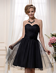 Knee-length Satin / Tulle Bridesmaid Dress-Black A-line Sweetheart