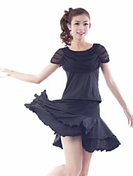 Latin Dance Outfits Women's Training Tulle / Milk Fiber Draped / Pleated / Ruffles 2 Pieces Black / Blue / Red Latin Dance Short Sleeve