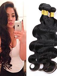 """3 PC / 8 """"-24"""" onda del cuerpo de color negro natural del pelo virginal peruano extensiones del pelo humano sin procesar bajo precio de"""