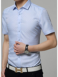 Men's Print Casual Shirt,Cotton Short Sleeve Blue / Red / White