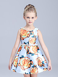 Girl's Blue / White Dress,Floral Cotton Summer