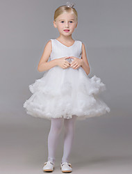 Ball Gown Short / Mini Flower Girl Dress - Tulle V-neck with Sash / Ribbon