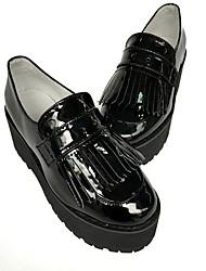 Punk Cuero 6 Tacón Cuña Negro Zapatos de Lolita
