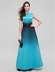 TS Couture Prom Formal Evening Dress - Color Gradient A-line Scoop Ankle-length Satin with Sash / Ribbon