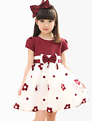 A-line Knee-length Flower Girl Dress - Chiffon / Lace / Stretch Satin Sleeveless Jewel with