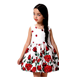 Girl's Multi-color / White Dress,Floral Cotton Spring / Fall