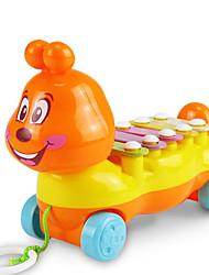 pequeño remolque de música de juguete de plástico azul / amarillo / naranja