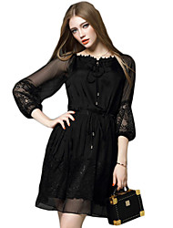 Women's Simple Solid Lace Dress , Boat Neck Knee-length Polyester