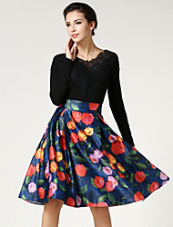 Women's Floral Gray / Multi-color Skirts , Vintage / Casual / Day Knee-length