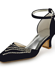 Women's Spring Summer Fall D'Orsay & Two-Piece Satin Stretch Satin Wedding Party & Evening Chunky Heel RhinestonePink Silver Blue Gold