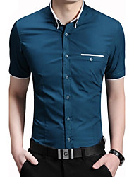Men's Fashion Contrast Color Collar Slim Fit Dress Short Sleeved Shirt
