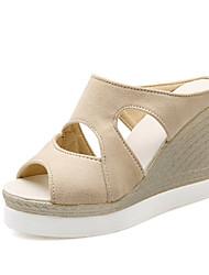 Women's Shoes Fleece Wedge Heel Wedges Sandals Office & Career / Party & Evening / Dress / Blue / Red / Beige