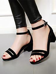 Черный / Бежевый / Бордовый-Женская обувь-Для праздника / На каждый день-Дерматин-На толстом каблуке-С открытым носком-Сандалии