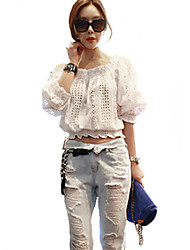 Women's Going out Sexy / Street chic Summer Blouse,Solid Boat Neck ½ Length Sleeve White Rayon / Polyester Translucent