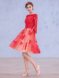 Cocktail Party Dress A-line Bateau Knee-length Satin / Tulle with Appliques / Sash / Ribbon
