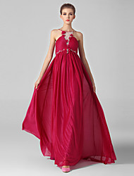 Formal Evening Dress-Burgundy Ball Gown Jewel Sweep/Brush Train Chiffon / Tulle