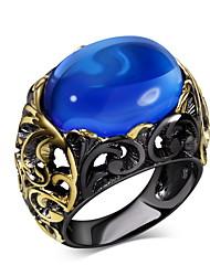 gioielli nuovo arrivo oro nero placcato serata libera cocktail anello ovale di piombo perline di vetro blu zaffiro per le donne