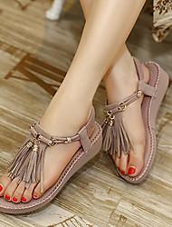 Women's Shoes Leatherette Wedge Heel Wedges Slingback Sandals Dress Purple / Almond