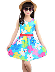 Girl's Round Collar Floral Print Sleevelss Cotton Vest Dress(with Belt Random)