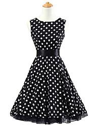 50s Era Vintage Style Sleeveless Rockabilly Dress Cosplay Costume Black White Polka Dot (with Petticoat)