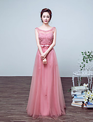 Formal Evening Dress Ball Gown Jewel Floor-length Satin / Tulle with Appliques / Bow(s) / Pearl Detailing