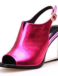 Women's Shoes Cowhide Wedge Heel Wedges / Heels / Peep Toe / Slingback Sandals / Heels Outdoor / Party